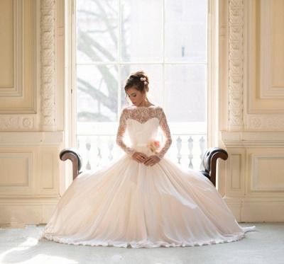 Elegant Long Sleeve Lace Wedding Dresses UK Princess  Bridal Gowns_4