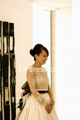 Elegant Lace Back Appliques A-Line Wedding Dresses UK Pearls Beaded Button Bridal Gown With Long Sleeves & Court Train_1