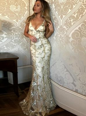Gorgeous V-neck Long Prom Dress UK Mermaid Sequins Party Dress UK BA7489_1
