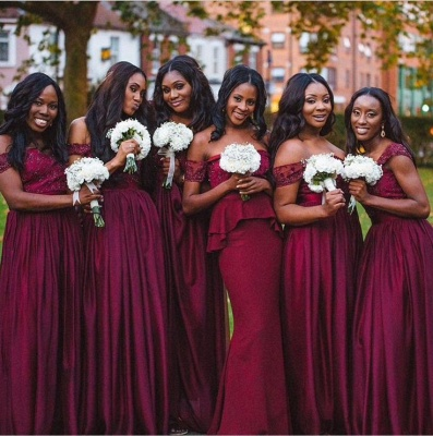 Elegant A-line Off-shoulder Bridesmaid Dress UK Floor-length With Lace_2