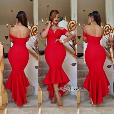 Hi-Lo Off-the-Shoulder Red Simple Elegant Mermaid Prom Dress UK BA6804_1
