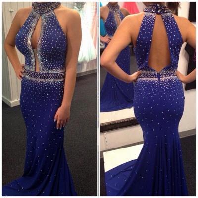 Elegant Royal Blue Beadings Mermaid Prom Dress UK Halter Sleeveless Sweep Train_3