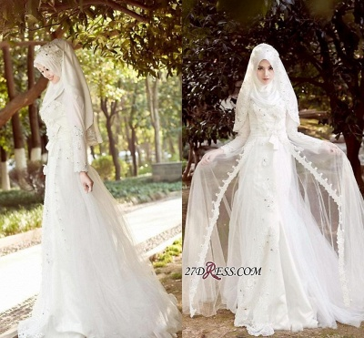 Beads White Arabic Bow Delicate A-line Wedding Dress_4