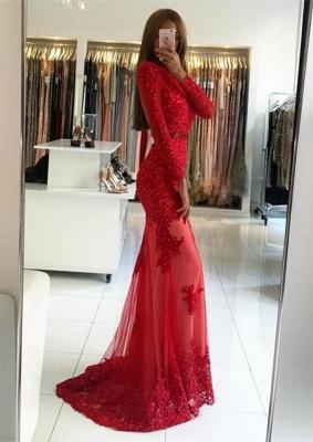 Elegant Red Long Sleeve Evening Dress UK | 2019 Appliques Long Prom Dress UK_1