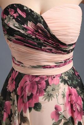 Summer Sweetheart Print Flowers Long Chiffon Prom Dress UK_3