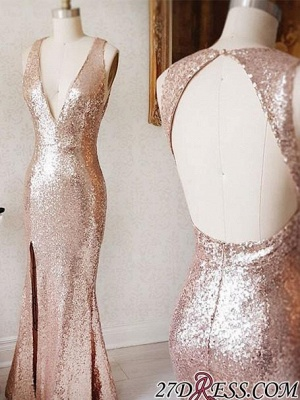 Deep-v-neck Beading Split-Front Backless Sequin Sheath Prom Dress UK_1