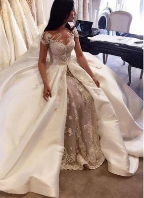 Gorgeous Ball Gown Lace Appliques Wedding Dress Short Sleeve Illusion LP076_1