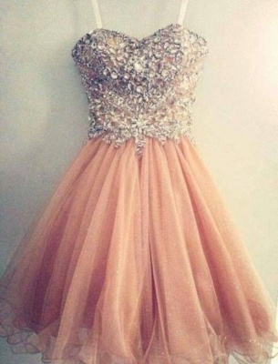Luxury Sweetheart Spaghetti Strap Homecoming Dress UK Beadings Crystals Short Prom Gowns_1