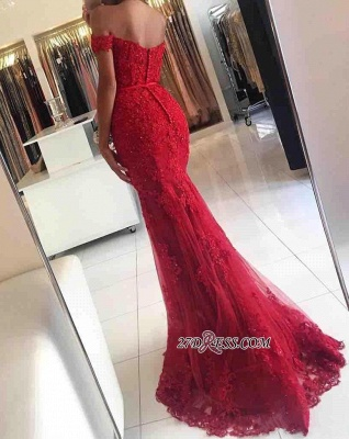 Appliques Off-the-shoulder Red Lace Gorgeous Mermaid Evening Dress UK_5
