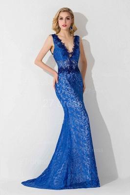 Delicate V-neck Lace Appliques Evening Dress UK Royal Blue_3