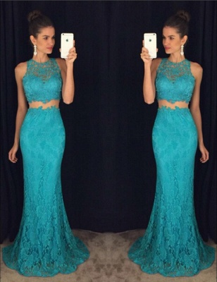 Delicate Mermaid Lace Prom Dress UK Two Piece AP0_1