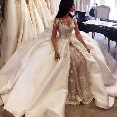 Gorgeous Ball Gown Lace Appliques Wedding Dress Short Sleeve Illusion LP076_2