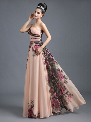 Summer Sweetheart Print Flowers Long Chiffon Prom Dress UK_1