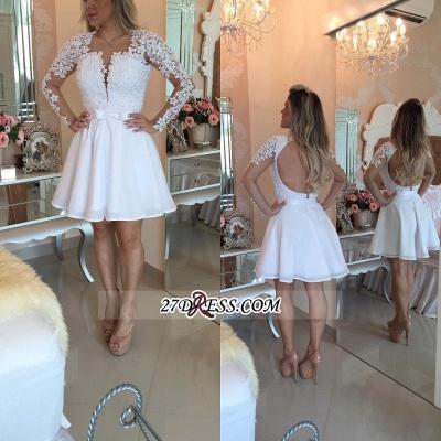 White Lace Long Sleeve Homecoming Dress UKes UK Short_3
