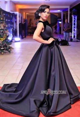Sleeveless Sweep-Train Black Gorgeous Evening Dress UK_4