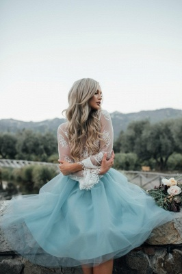 Long Sleeve Lace Short Prom Dress UK Tulle Party Gowns_4