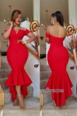 Hi-Lo Off-the-Shoulder Red Simple Elegant Mermaid Prom Dress UK BA6804_2