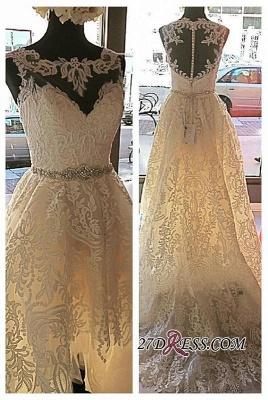 Lace Button Designer Elegant Tulle Zipper Sleeveless Wedding Dress_1
