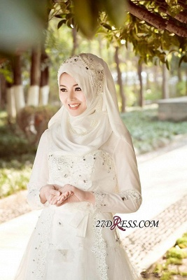 Beads White Arabic Bow Delicate A-line Wedding Dress_3