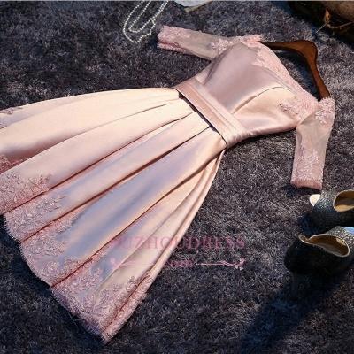 A-Line Pink Half-Sleeves Newest Short Off-the-Shoulder Homecoming Dress UK BA6866_1