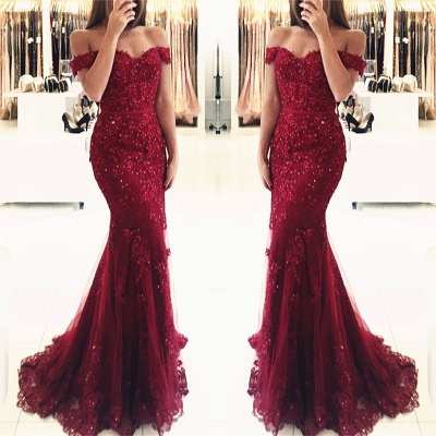 Appliques Off-the-shoulder Red Lace Gorgeous Mermaid Evening Dress UK_7