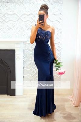 Cheap Floor-length Sheath-Column One-Shoulder Split-Front Appiques Bridesmaid Dresses_2