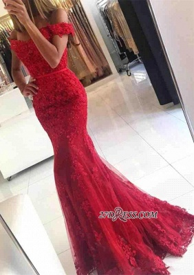 Appliques Off-the-shoulder Red Lace Gorgeous Mermaid Evening Dress UK_6