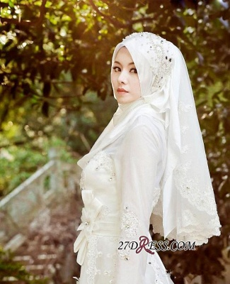 Beads White Arabic Bow Delicate A-line Wedding Dress_1