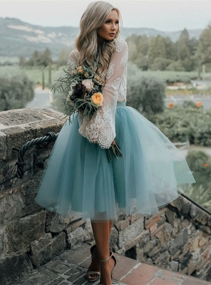 Long Sleeve Lace Short Prom Dress UK Tulle Party Gowns_1