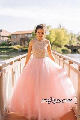 Puffy Pink Beaded Long Sexy Tulle Sleeveless Prom Dress UKes UK BA4242_1
