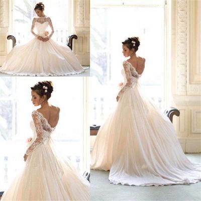 Elegant Long Sleeve Lace Wedding Dresses UK Princess  Bridal Gowns_3