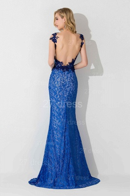 Delicate V-neck Lace Appliques Evening Dress UK Royal Blue_4