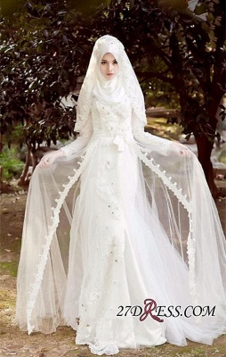 Beads White Arabic Bow Delicate A-line Wedding Dress_5