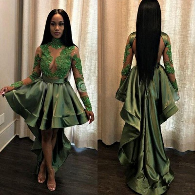 Green Hi-Lo Prom Dress UK   Long Sleeve Evening Party Gowns_3
