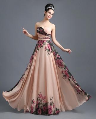 Summer Sweetheart Print Flowers Long Chiffon Prom Dress UK_2