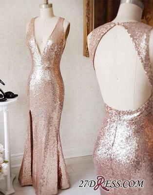 Deep-v-neck Beading Split-Front Backless Sequin Sheath Prom Dress UK_2