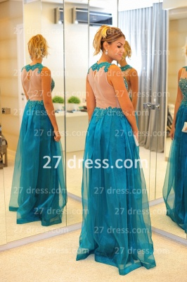 New Arrival Vestidos De Gala Evening Gowns High-neck Blue Lace Applique Prom Dress UKes UK on Sale_2
