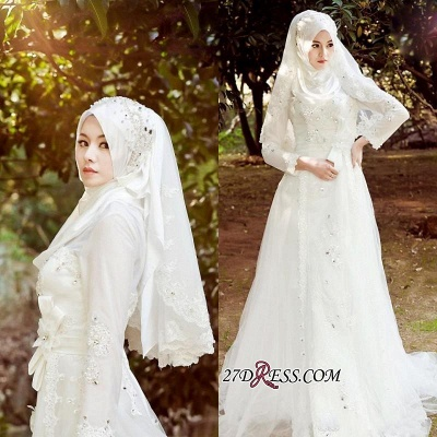 Beads White Arabic Bow Delicate A-line Wedding Dress_2