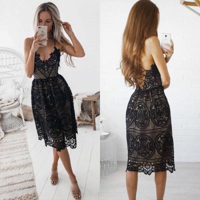 Elegant Black 2019 Short Homecoming Dress UK   Lace Spaghetti-Straps Party Dress UK_4
