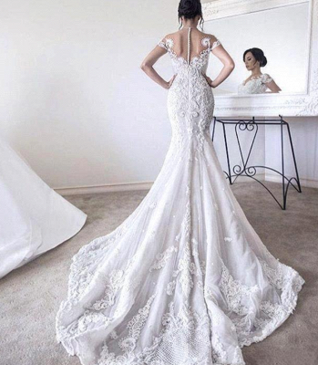 Gorgeous Ball Gown Lace Appliques Wedding Dress Short Sleeve Illusion LP076_3
