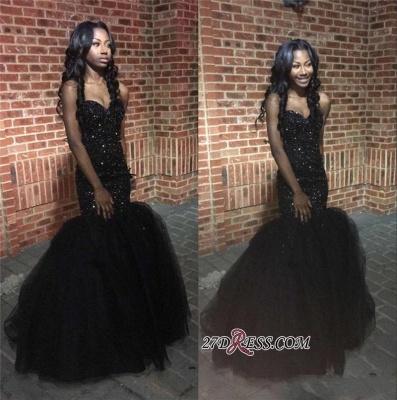 Tulle Sweetheart Beaded Sequins Black Mermaid Amazing Puffy Prom Dress UK BK0_1