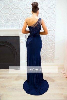 Cheap Floor-length Sheath-Column One-Shoulder Split-Front Appiques Bridesmaid Dresses_3