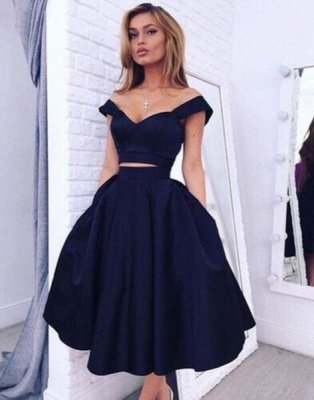 Luxury Two pieces Off-the-shoulder Prom Dress UK Short Homecoming Dress UK BA3609_1