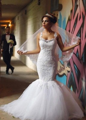 Fabulous Sweetheart Sexy Mermaid Wedding Dresses UK Beadss Tulle Lace Appliques_2
