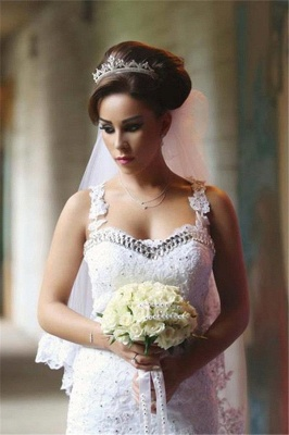 Fabulous Sweetheart Sexy Mermaid Wedding Dresses UK Beadss Tulle Lace Appliques_4