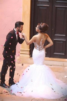 Fabulous Sweetheart Sexy Mermaid Wedding Dresses UK Beadss Tulle Lace Appliques_5