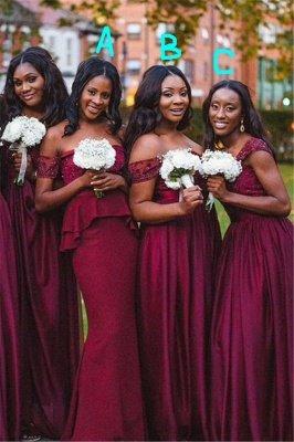 Elegant A-line Off-shoulder Bridesmaid Dress UK Floor-length With Lace_1
