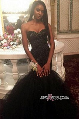 Tulle Sweetheart Beaded Sequins Black Mermaid Amazing Puffy Prom Dress UK BK0_2