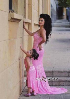Pink Mermaid Sequined Open-Back Spaghetti-Straps Elegant Crystal Prom Dress UK_3