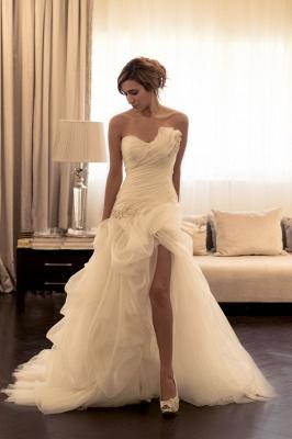 Ruffles Front Split Wedding Dress Beads Sweetheart Sleeveless_1
